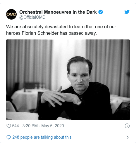 Twitter post by @OfficialOMD: We are absolutely devastated to learn that one of our heroes Florian Schneider has passed away.