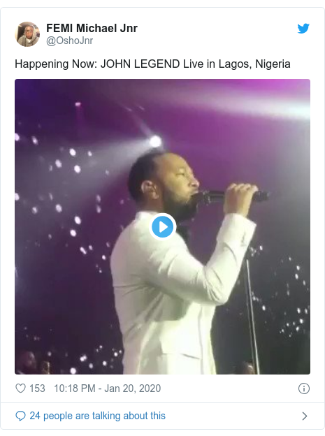 Twitter post by @OshoJnr: Happening Now  JOHN LEGEND Live in Lagos, Nigeria