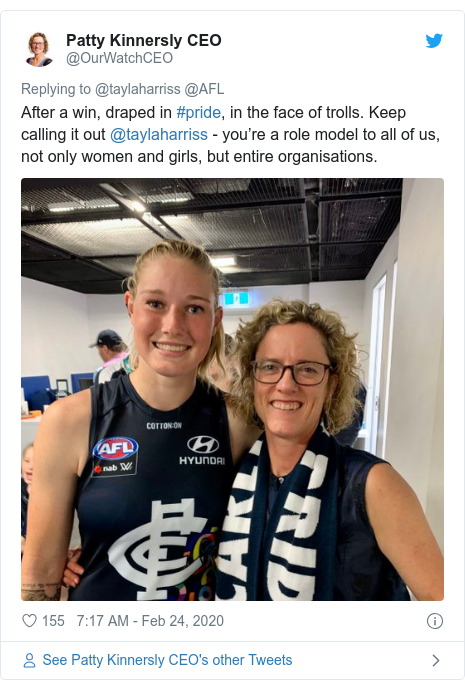 Twitter post by @OurWatchCEO: After a win, draped in #pride, in the face of trolls. Keep calling it out @taylaharriss - you're a role model to all of us, not only women and girls, but entire organisations.