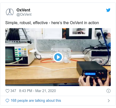 Twitter post by @OxVent: Simple, robust, effective - here's the OxVent in action
