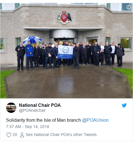 Twitter post by @POAnatchair: Solidarity from the Isle of Man branch ⁦@POAUnion⁩