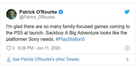 Twitter post by @Patrick_ORourke: I'm glad there are so many family-focused games coming to the PS5 at launch. Sackboy A Big Adventure looks like the platformer Sony needs. #PlayStation5