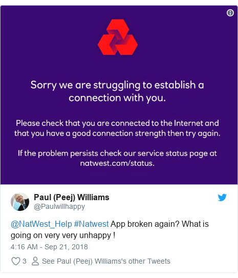 Natwest rbs and ulster bank say online banking glitch resolved twitter post by paulwillhappy natwesthelp natwest app broken again what is reheart Gallery