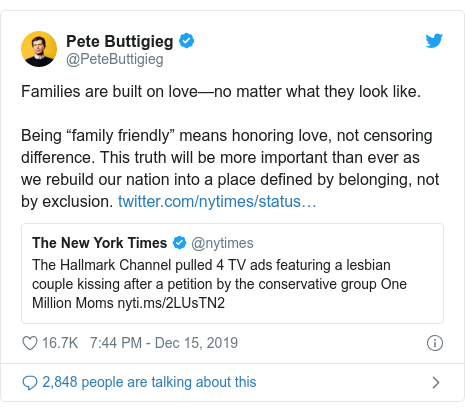"""Twitter post by @PeteButtigieg: Families are built on love—no matter what they look like.Being """"family friendly"""" means honoring love, not censoring difference. This truth will be more important than ever as we rebuild our nation into a place defined by belonging, not by exclusion."""