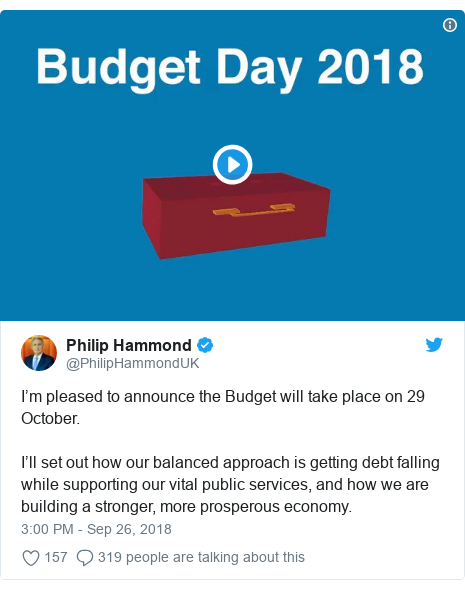 Twitter post by @PhilipHammondUK: I'm pleased to announce the Budget will take place on 29 October.I'll set out how our balanced approach is getting debt falling while supporting our vital public services, and how we are building a stronger, more prosperous economy.