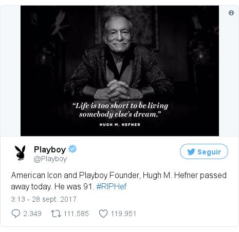 Publicación de Twitter por @Playboy