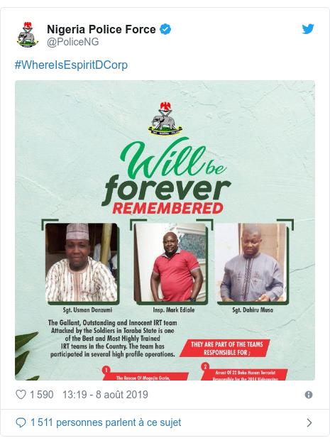 Twitter publication par @PoliceNG: #WhereIsEspiritDCorp