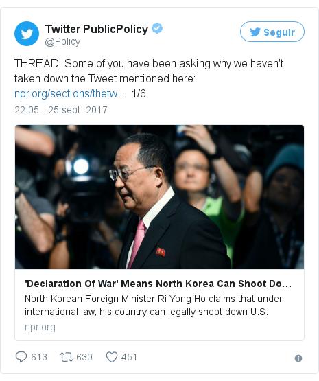 Publicación de Twitter por @Policy