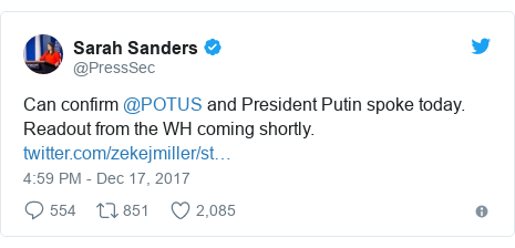 Twitter post by @PressSec: Can confirm @POTUS and President Putin spoke today. Readout from the WH coming shortly.