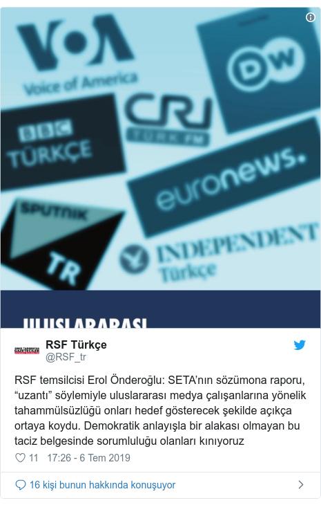 """@RSF_tr tarafından yapılan Twitter paylaşımı: RSF temsilcisi Erol Önderoğlu  SETA'nın sözümona raporu, """"uzantı"""" söylemiyle uluslararası medya çalışanlarına yönelik tahammülsüzlüğü onları hedef gösterecek şekilde açıkça ortaya koydu. Demokratik anlayışla bir alakası olmayan bu taciz belgesinde sorumluluğu olanları kınıyoruz"""