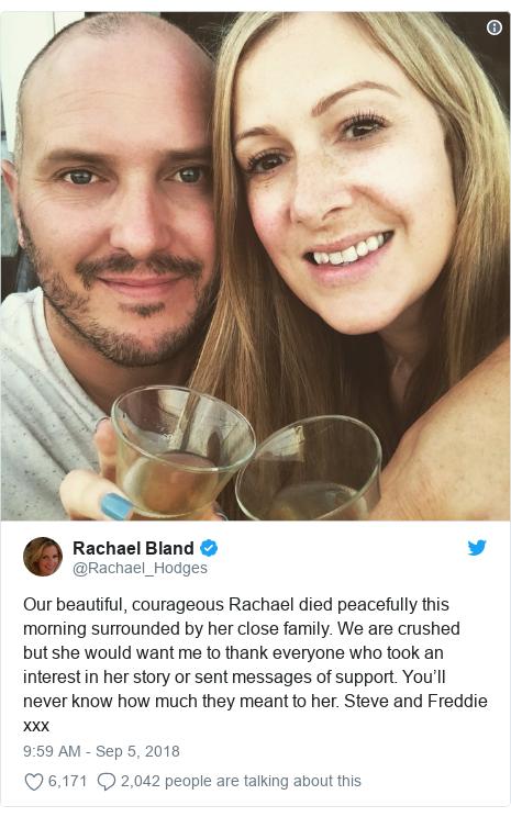 BBC presenter Rachael Bland dies aged 40 - BBC News