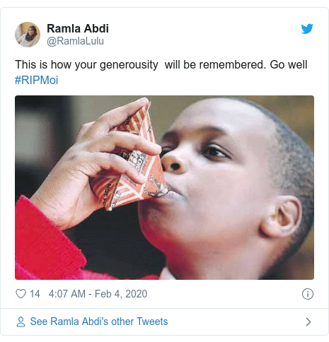 Twitter post by @RamlaLulu: This is how your generousity  will be remembered. Go well  #RIPMoi