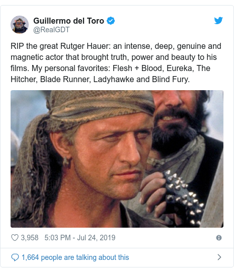 Twitter post by @RealGDT: RIP the great Rutger Hauer  an intense, deep, genuine and magnetic actor that brought truth, power and beauty to his films. My personal favorites  Flesh + Blood, Eureka, The Hitcher, Blade Runner, Ladyhawke and Blind Fury.