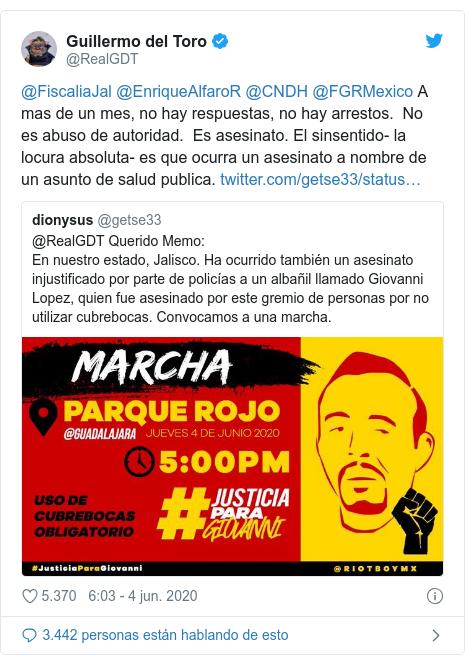 Publicación de Twitter por @RealGDT: @FiscaliaJal @EnriqueAlfaroR @CNDH @FGRMexico A mas de un mes, no hay respuestas, no hay arrestos. No es abuso de autoridad. Es asesinato. El sinsentido- la locura absoluta- es que ocurra un asesinato a nombre de un asunto de salud publica.
