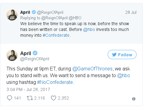 Hbo defends confederate slavery show plans bbc news twitter post by reignofapril ccuart Choice Image