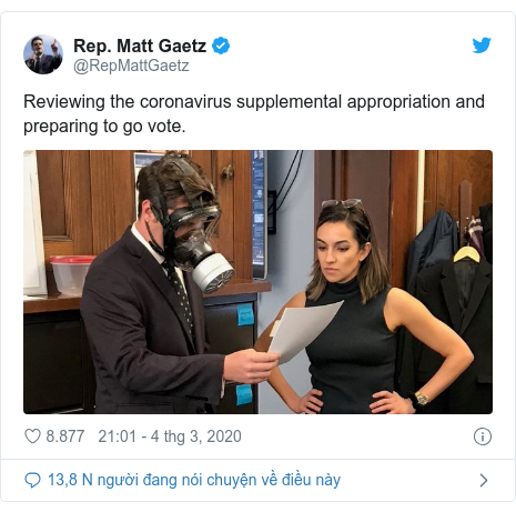 Twitter bởi @RepMattGaetz: Reviewing the coronavirus supplemental appropriation and preparing to go vote.