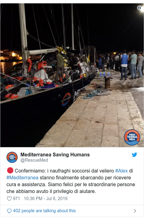 Italy migrants: Migrants allowed off charity ship despite