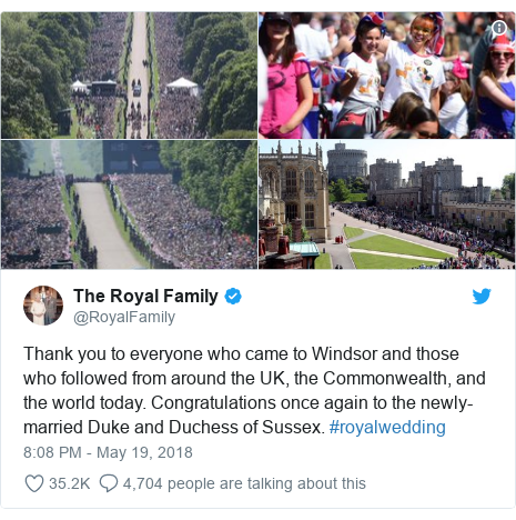 Twitter post by @RoyalFamily: Thank you to everyone who came to Windsor and those who followed from around the UK, the Commonwealth, and the world today. Congratulations once again to the newly-married Duke and Duchess of Sussex. #royalwedding