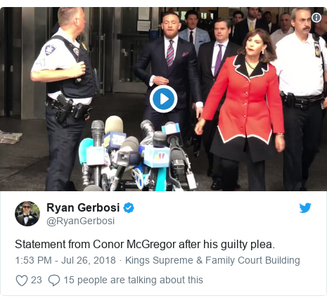 064f59fbbb8 Twitter post by  RyanGerbosi  Statement from Conor McGregor after his  guilty plea.