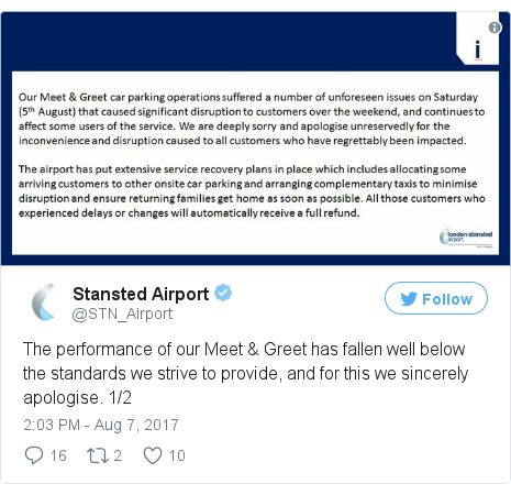 Stansted airport sorry for meet and greet parking chaos bbc news twitter post by stnairport m4hsunfo