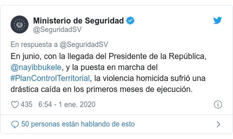 Publicación de Twitter por @SeguridadSV: En junio, con la llegada del Presidente de la República, @nayibbukele, y la puesta en marcha del #PlanControlTerritorial, la violencia homicida sufrió una drástica caída en los primeros meses de ejecución.