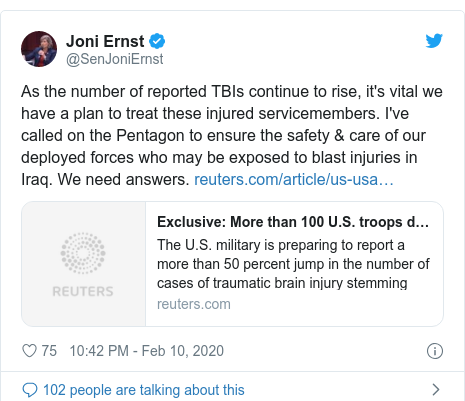 Twitter post by @SenJoniErnst: As the number of reported TBIs continue to rise, it's vital we have a plan to treat these injured servicemembers. I've called on the Pentagon to ensure the safety & care of our deployed forces who may be exposed to blast injuries in Iraq. We need answers.