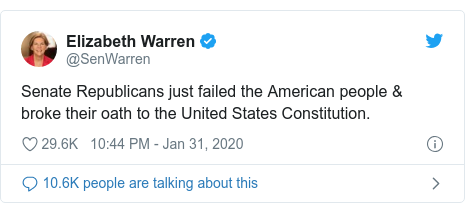 Twitter post by @SenWarren: Senate Republicans just failed the American people & broke their oath to the United States Constitution.