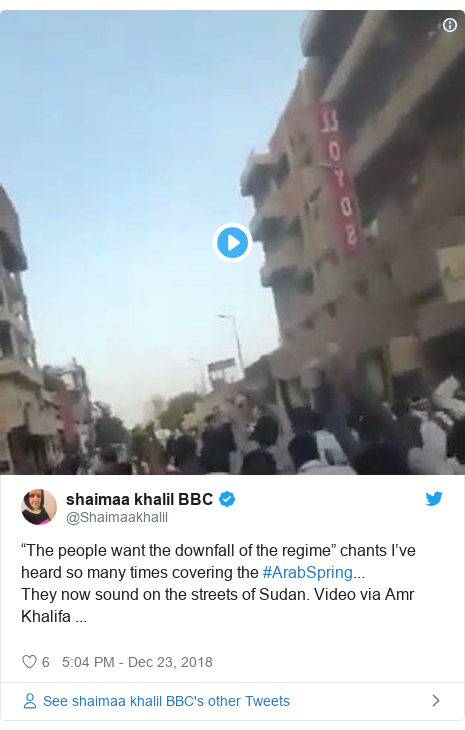 """Twitter post by @Shaimaakhalil: """"The people want the downfall of the regime"""" chants I've heard so many times covering the #ArabSpring...They now sound on the streets of Sudan. Video via Amr Khalifa ..."""