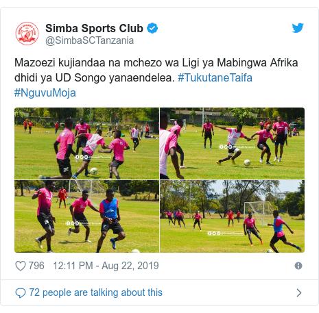 Ujumbe wa Twitter wa @SimbaSCTanzania: Mazoezi kujiandaa na mchezo wa Ligi ya Mabingwa Afrika dhidi ya UD Songo yanaendelea. #TukutaneTaifa #NguvuMoja