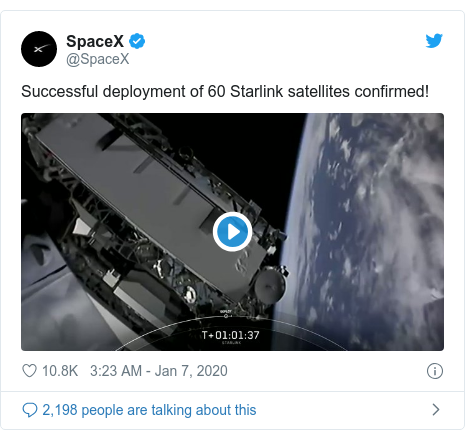 Twitter post by @SpaceX: Successful deployment of 60 Starlink satellites confirmed!
