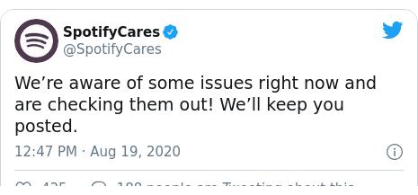Bài đăng trên Twitter của @SpotifyCares: Chúng tôi đã biết một số vấn đề ngay bây giờ và đang kiểm tra chúng!  Chúng tôi sẽ giữu bài viết của bạn.