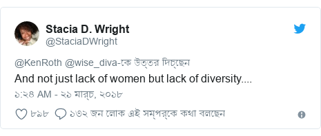 @StaciaDWright এর টুইটার পোস্ট: And not just lack of women but lack of diversity....