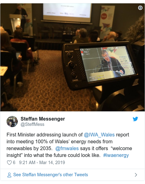 """Twitter post by @SteffMess: First Minister addressing launch of @IWA_Wales report into meeting 100% of Wales' energy needs from renewables by 2035. @fmwales says it offers """"welcome insight"""" into what the future could look like. #iwaenergy"""