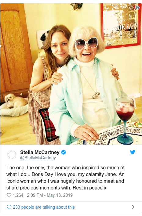 Twitter post by @StellaMcCartney: The one, the only, the woman who inspired so much of what I do... Doris Day I love you, my calamity Jane. An iconic woman who I was hugely honoured to meet and share precious moments with. Rest in peace x