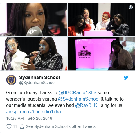 Twitter post by @SydenhamSchool: Great fun today thanks to @BBCRadio1Xtra some wonderful guests visiting @SydenhamSchool & talking to our media students, we even had @RayBLK_ sing for us #inspireme #bbcradio1xtra