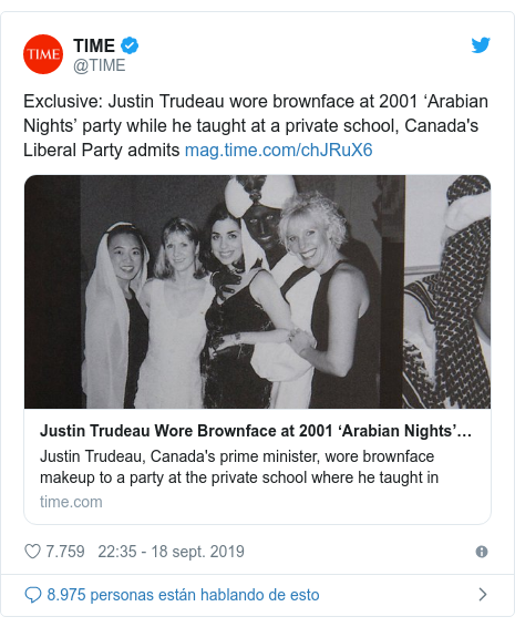 Publicación de Twitter por @TIME: Exclusive  Justin Trudeau wore brownface at 2001 'Arabian Nights' party while he taught at a private school, Canada's Liberal Party admits