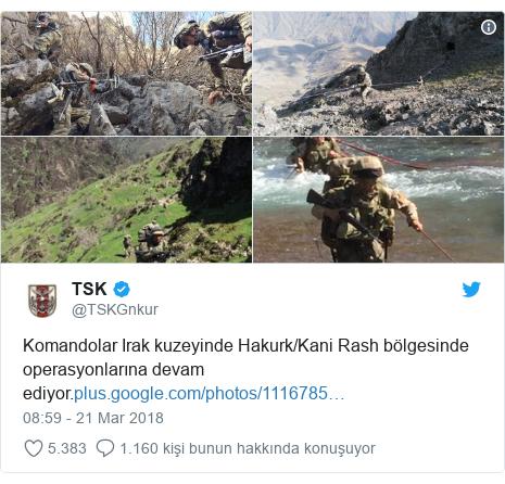 @TSKGnkur tarafından yapılan Twitter paylaşımı: Komandolar Irak kuzeyinde Hakurk/Kani Rash bölgesinde operasyonlarına devam ediyor.