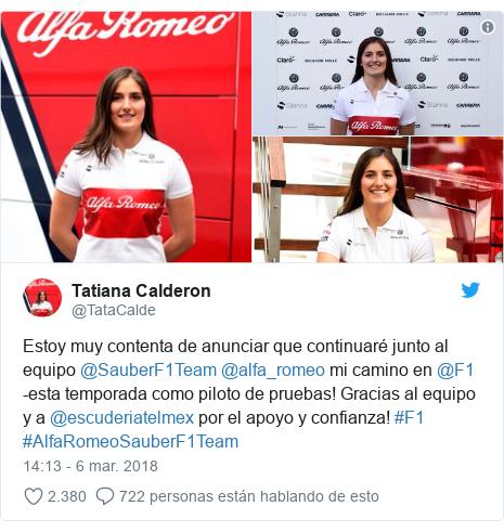 Publicación de Twitter por @TataCalde: Estoy muy contenta de anunciar que continuaré junto al equipo @SauberF1Team @alfa_romeo mi camino en @F1 -esta temporada como piloto de pruebas! Gracias al equipo y a @escuderiatelmex por el apoyo y confianza! #F1 #AlfaRomeoSauberF1Team