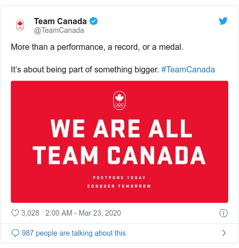 Twitter post by @TeamCanada: More than a performance, a record, or a medal. It's about being part of something bigger. #TeamCanada