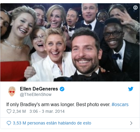 Publicación de Twitter por @TheEllenShow: If only Bradley's arm was longer. Best photo ever. #oscars