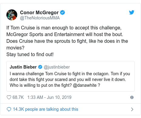 Twitter post by @TheNotoriousMMA: If Tom Cruise is man enough to accept this challenge,McGregor Sports and Entertainment will host the bout.Does Cruise have the sprouts to fight, like he does in the movies? Stay tuned to find out!