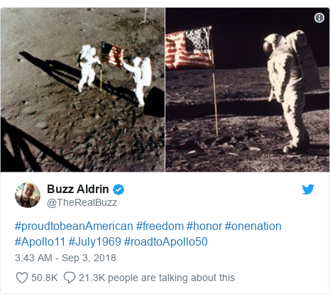 Twitter post by @TheRealBuzz: #proudtobeanAmerican #freedom #honor #onenation #Apollo11 #July1969 #roadtoApollo50