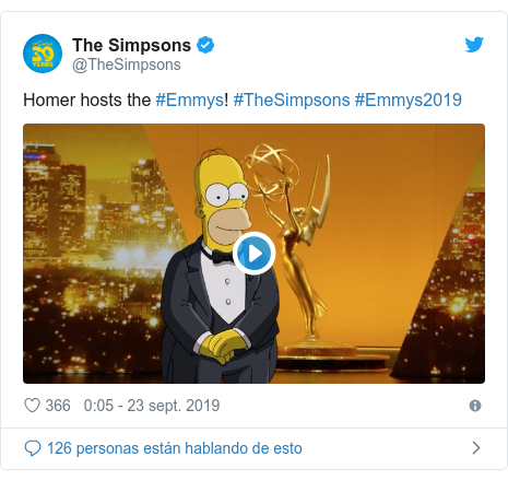 Publicación de Twitter por @TheSimpsons: Homer hosts the #Emmys! #TheSimpsons #Emmys2019