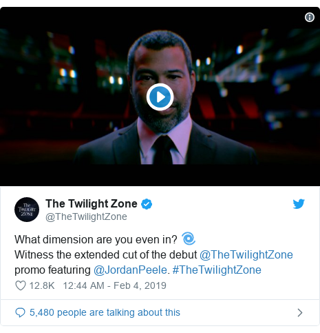 Twitter post by @TheTwilightZone: What dimension are you even in? 🌀Witness the extended cut of the debut @TheTwilightZone promo featuring @JordanPeele. #TheTwilightZone
