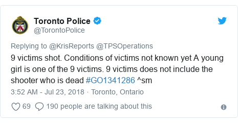 Twitter post by @TorontoPolice: 9 victims shot. Conditions of victims not known yet A young girl is one of the 9 victims. 9 victims does not include the shooter who is dead #GO1341286 ^sm