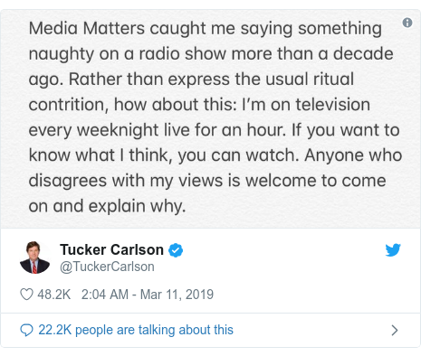 41f3a5b5d5fc Fox News host Tucker Carlson in lewd recordings controversy - BBC News