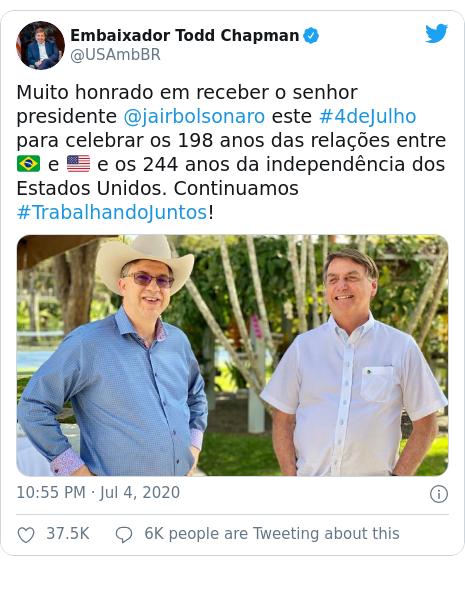 Twitter post by @USAmbBR: Muito honrado em receber o senhor presidente @jairbolsonaro este #4deJulho para celebrar os 198 anos das relações entre 🇧🇷 e 🇺🇸 e os 244 anos da independência dos Estados Unidos. Continuamos #TrabalhandoJuntos!