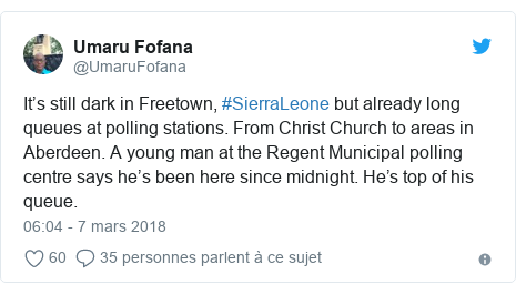 Twitter publication par @UmaruFofana: It's still dark in Freetown, #SierraLeone but already long queues at polling stations. From Christ Church to areas in Aberdeen. A young man at the Regent Municipal polling centre says he's been here since midnight. He's top of his queue.