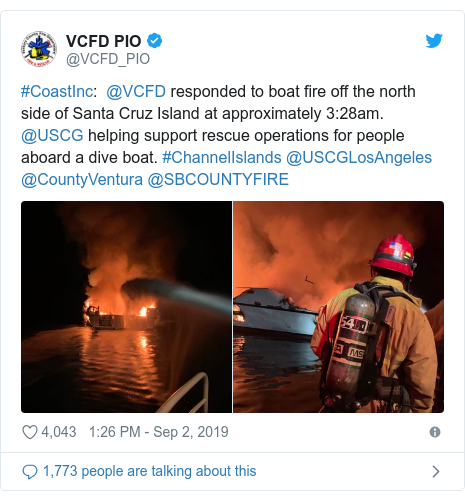 Twitter post by @VCFD_PIO: #CoastInc   @VCFD responded to boat fire off the north side of Santa Cruz Island at approximately 3 28am. @USCG helping support rescue operations for people aboard a dive boat. #ChannelIslands @USCGLosAngeles @CountyVentura @SBCOUNTYFIRE