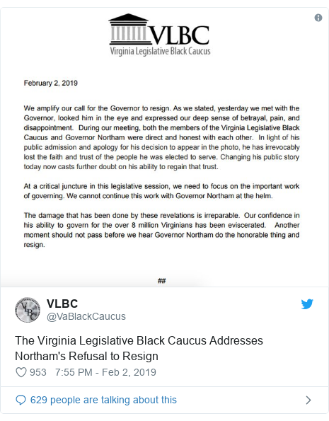 Twitter post by @VaBlackCaucus: The Virginia Legislative Black Caucus Addresses Northam's Refusal to Resign